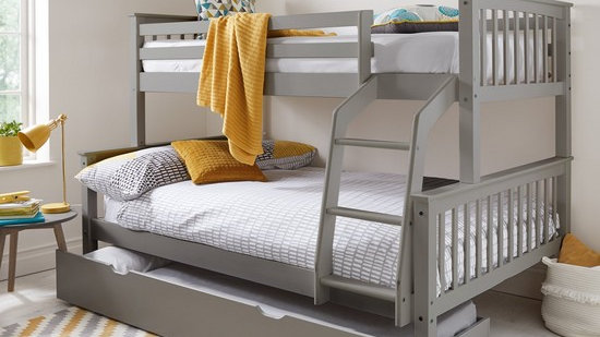 Novara Trio Bunk Bed Frame Grey - Excludes Trundle