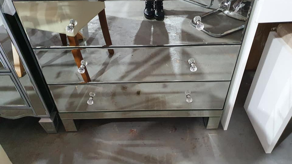 Parisian ready assembled mirrored 3 drawer wide chest