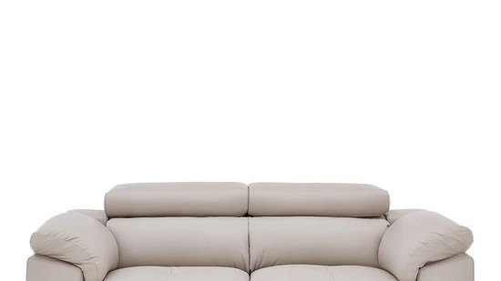 Brady 100% Premium Leather 2-Seater Sofa soft grey