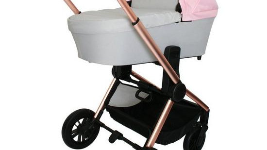 My Babiie Dreamiie Pink and Grey Carrycot