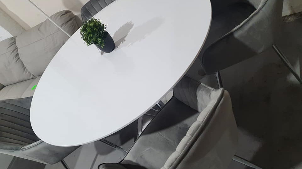 white chrome trumpet leg 120cm dining table +5 alice velvet dining chairs