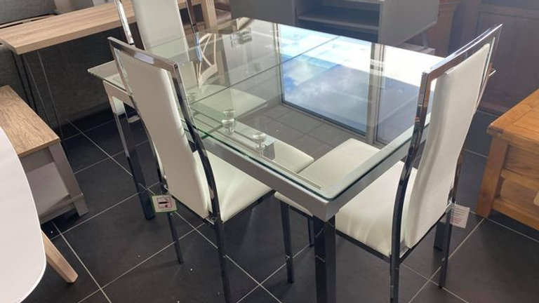 Glide 120-150 cm Extending Glass Table plus 4 Atlantic Chairs - Clear