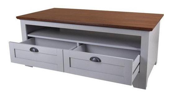 Devon Storage Coffee Table - Grey/Walnut Effect