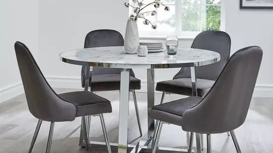 Ivy Marble Effect Circle Dining Table With 4 Chairs