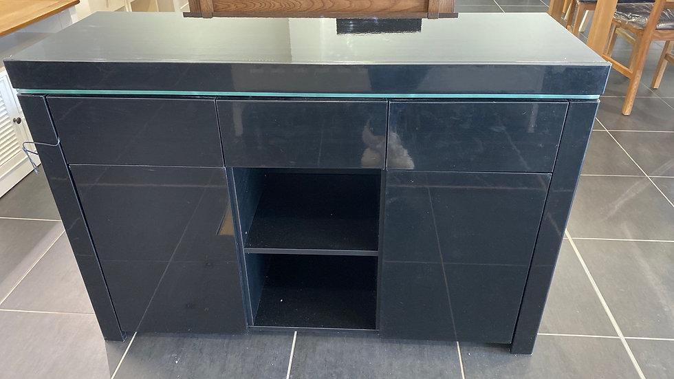 Large Atlantic gloss sideboard BLACK