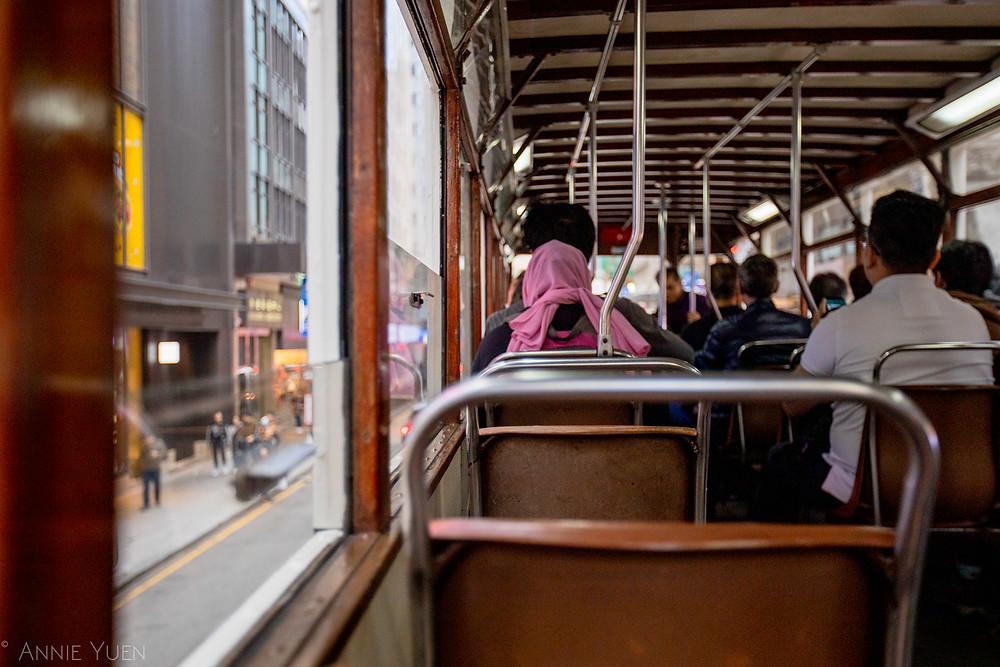 Upper deck inside the Tram