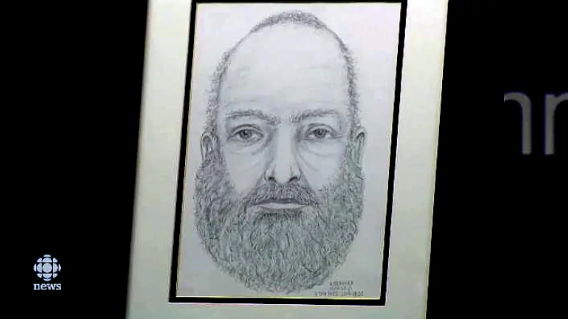 RCMP lanzó un boceto compuesto del hombre que fue encontrado muerto a dos kilómetros al sur de una caravana quemada cerca de Dease Lake, BC, el 19 de julio. El hombre no ha sido identificado. (Don Marce / CBC)