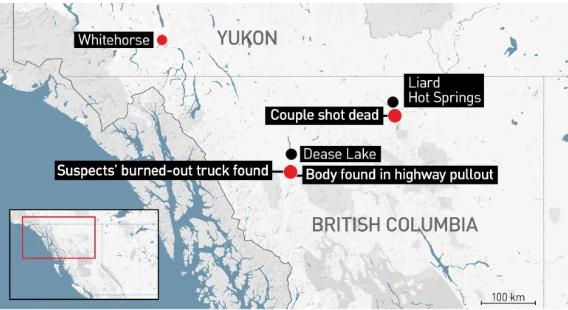 Un mapa muestra las ubicaciones en el norte de BC donde se encontraron tres cadáveres, así como el camión abandonado de dos hombres ahora considerados sospechosos. Chynna Deese y Lucas Fowler, una joven pareja de Estados Unidos y Australia, fueron asesinados cerca de Liard Hot Springs el 15 de julio de 2019. Al suroeste, se encontró un cadáver el 19 de julio cerca del camión de sospechosos Kam McLeod, 19, y Bryer Schmegelsky, 18. (CBC News)