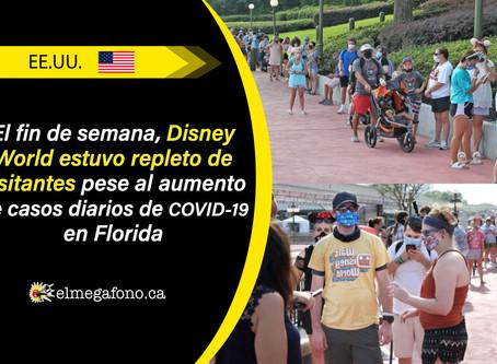 Largas filas tras la reapertura de Disney World mientras Florida bate el récord de nuevos contagios