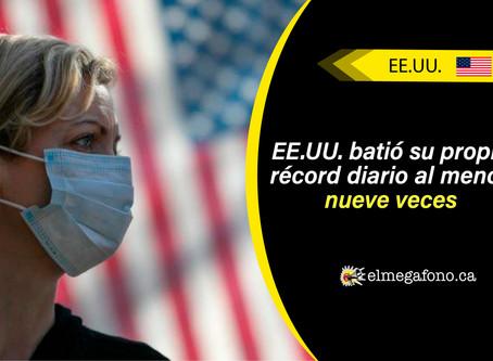Estados Unidos registra otro aumento récord en casos diarios de COVID-19