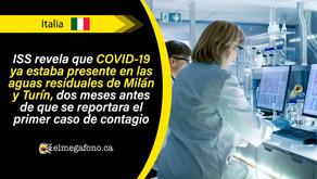 En Italia, el nuevo coronavirus ya se encontraba en aguas residuales desde diciembre