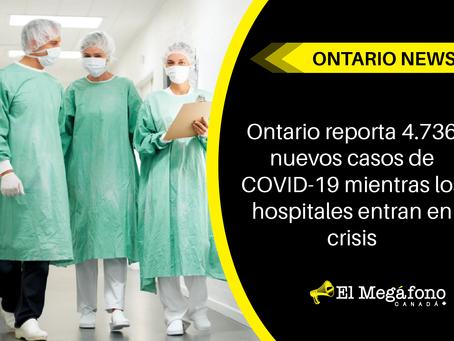 Ontario reporta 4.736 nuevos casos de COVID-19 mientras los hospitales entran en crisis