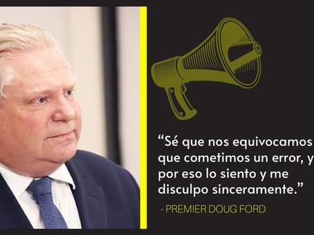 Ford llora y se disculpa tras anunciar que Ontario se equivocó