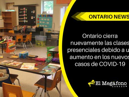 Ontario cierra nuevamente las clases presenciales debido a un aumento en los casos de COVID-19