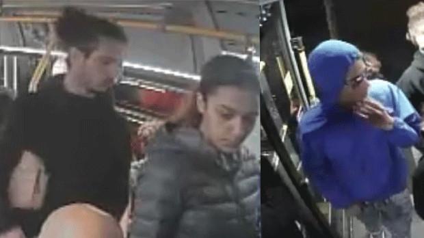 cámara de vigilancia se muestran tres sospechosos buscados en conexión con un disparo en un bus TTC el 8 de junio. (Servicio de Policía de Toronto)
