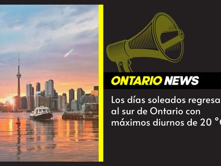 Los días soleados regresan al sur de Ontario con máximos diurnos de 20 °C