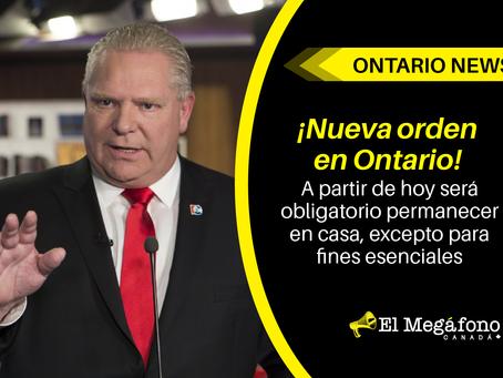 ¡Nueva orden en Ontario! A partir de hoy será obligatorio permanecer en casa