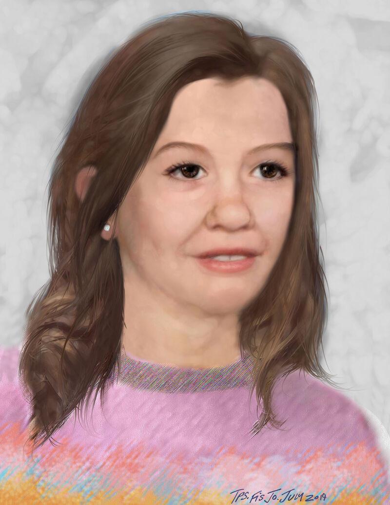 34 ° aniversario del caso de persona desaparecida,  niña de ocho años desaparecida desde 1985,  Nicole Morin, imagen  actualizada mejorada por edad publicada