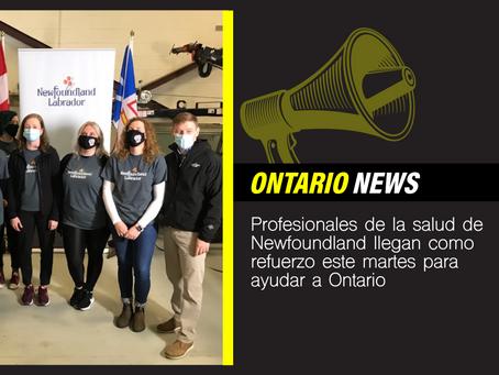 Profesionales de la salud de Newfoundland llegan como refuerzo este martes para ayudar a Ontario