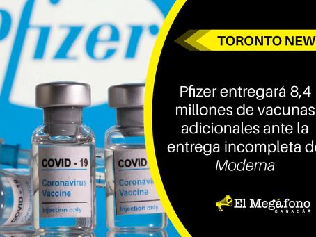 Pfizer entregará 8,4 millones de vacunas adicionales ante la entrega incompleta de Moderna