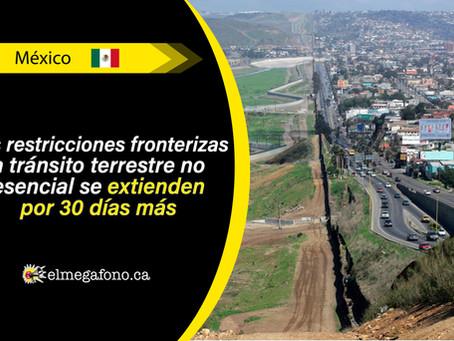 Tras aumento alarmante de casos de COVID-19, México extiende sus restricciones fronterizas con EE.UU