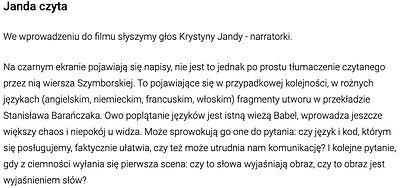 JANDA TVN Babel, Wróż Prusiewicz, poem, wiersz, MOVIE film, Szymborska, kino