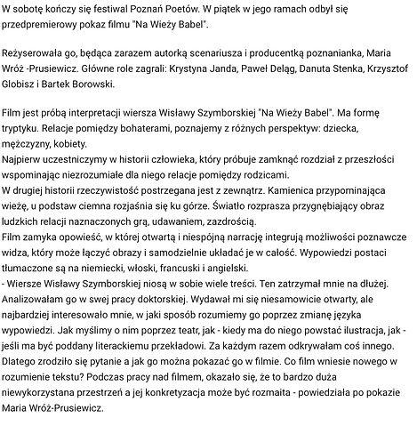 festival poznań poetów poem film Babel wróż prusiewicz zamek kino cinema