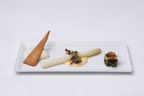 White Asparagus with Hollandaise Passion Fruit Sauce and Parmesan Snow