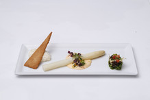 White Asparagus with Hollandaise Passion Fruit Sauce and Parmesan Snow