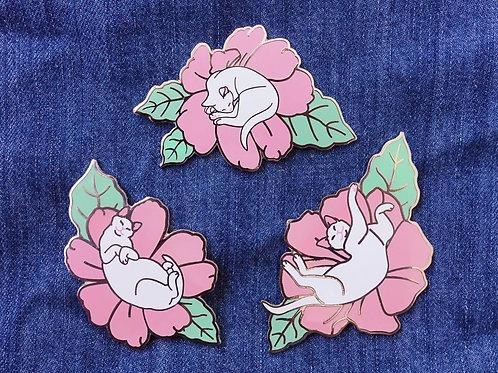 Second grade flower cats hard enamel pins