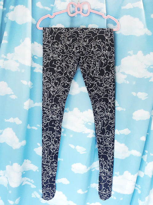 Black cat cuddle puddle sublimated tights
