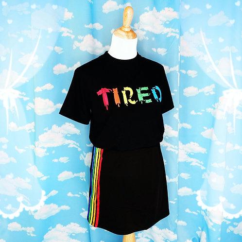 "Black rainbow ""Tired"" cat font t-shirt"