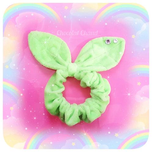 Neon green leafy scrunchie