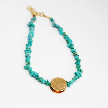 Gold Coin Necklace with Green Gemstone