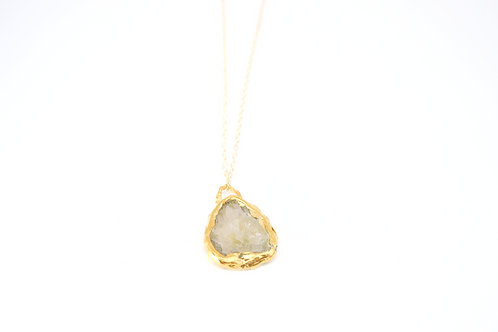 Gold Necklace with Gold Lace and Grey Sea Glass