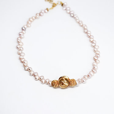 Gold Buddha Necklace with Pearl Beads