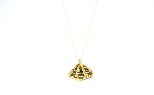 Gold Lace Necklace with Green Sea Glass