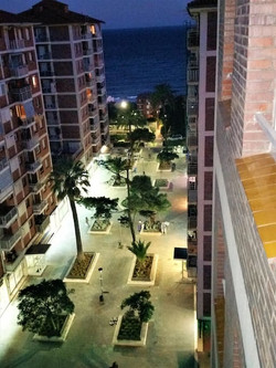 view from the balcony by night