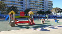 children´s playground at the front of the apartment