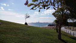 Skyline of Barcelona. View from beach of Montgat