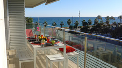 Breakfast on the huge balcony with fantastic view to the sea.