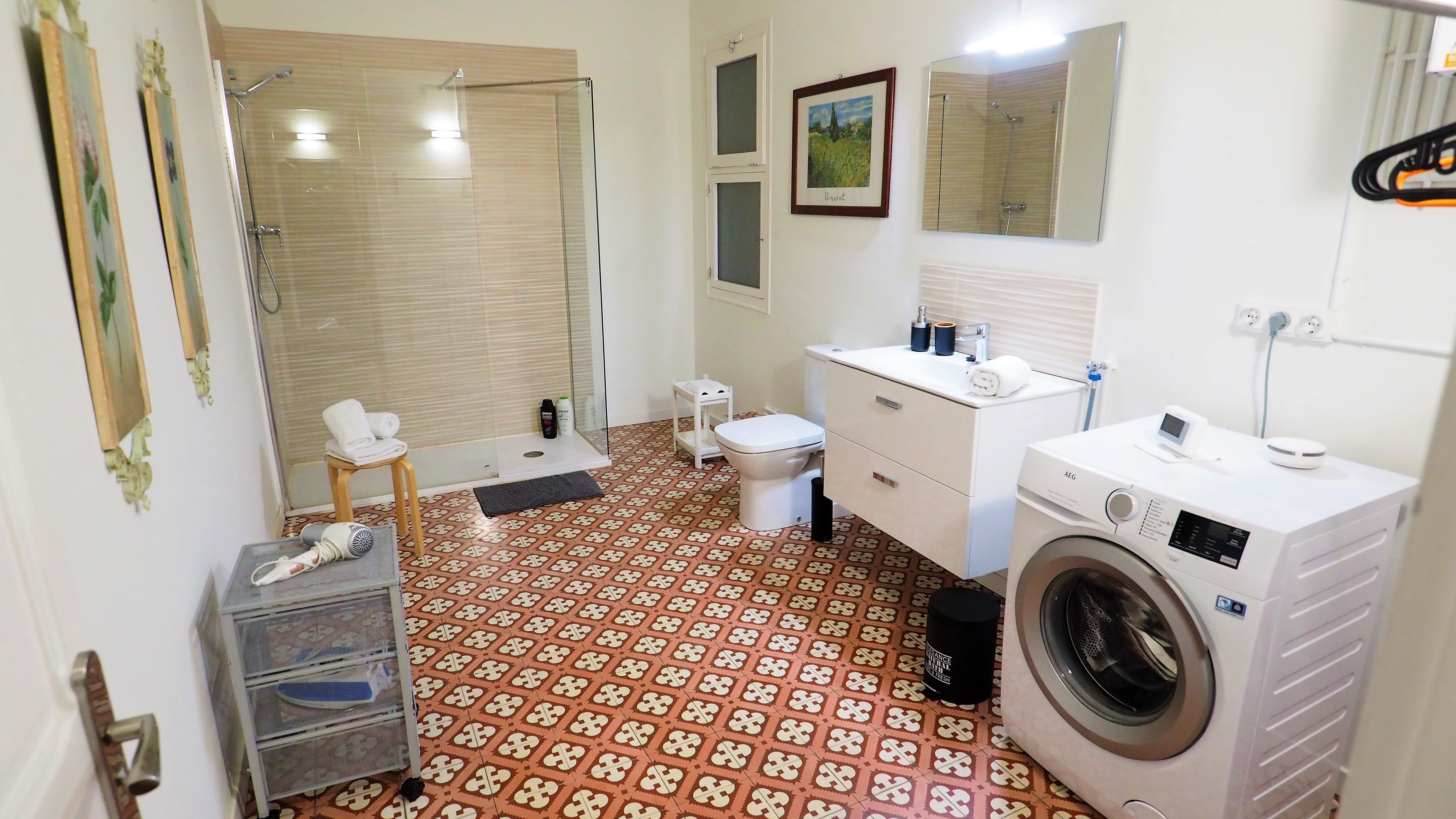 Bathroom: shower, WC, washing machine, h
