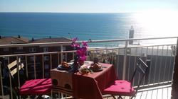 fantastic view from the balcony to the sea and the beach