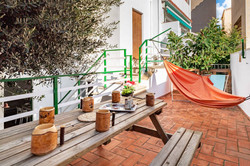 Terrace with picnic table, hammock,