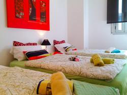 """bedroom III"" with 2 single beds or if needed with 3 single beds. Warderobe."