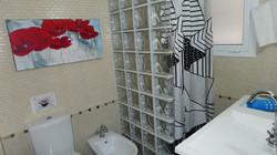 bathroom: shower, bidet, basin, hair dryer, towels, soap, shampoo, toilet paper.