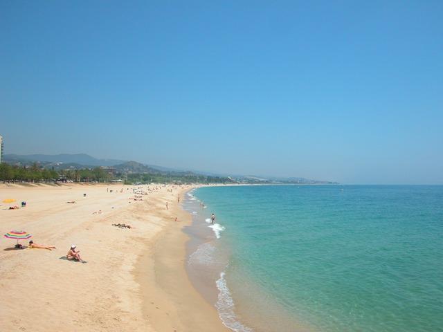 Endless golden sand beach of Mataró