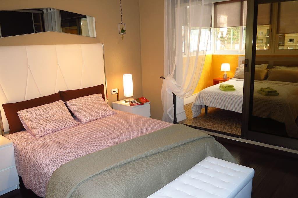 Bedroom II 1 double bed, wardrobe, mirror