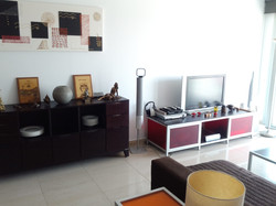 living room with commode