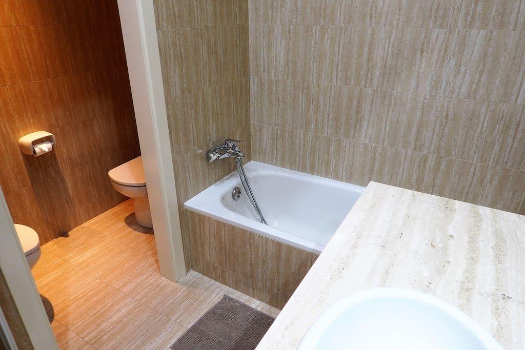 Bathroom II  bath-tube, shower, bidet, hair dryer